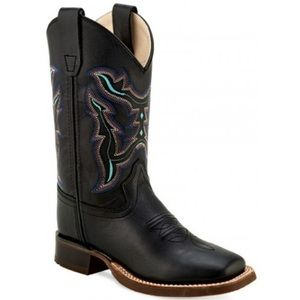 Children's Old West Cowboy Boots Black Leather